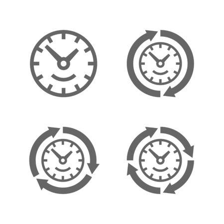 Uhren mit Pfeilen als Symbol der Lauf der Zeit. Gibt es zwei, drei und vier Pfeile für die Symbolzeitgeschwindigkeit. Standard-Bild - 42063184