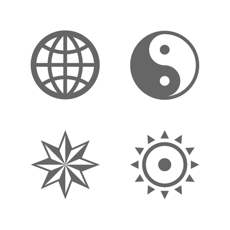 windrose: Four nice sign icons of eternal essence. World globe, Yin yang, Windrose and the Sun. Illustration