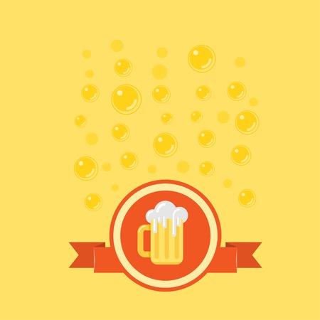 Bier Abzeichen mit Blasen auf den Hintergrund. Gelb-Vorlage für Bier im Zusammenhang mit Design. Standard-Bild - 49854585