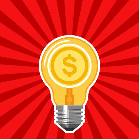 Geschäftskonzept mit Glühlampe und roten Strahlen . Geschäftsidee in abstrakte flache Vektor-Illustration Standard-Bild - 49854587