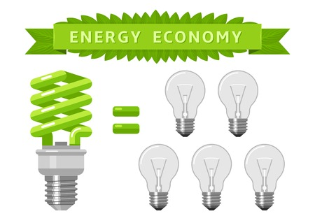 green economy: Electric energy economy of light bulbs. One eco green lamp is worth of five common bulbs.