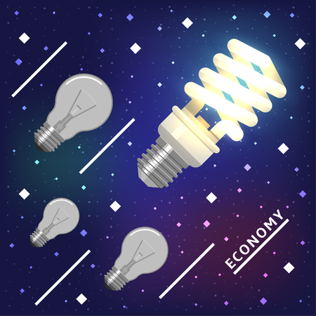 advantages: Energy economy technology is a future. Concept of high advantages of new tech lamps are flying ahead into the future in space.