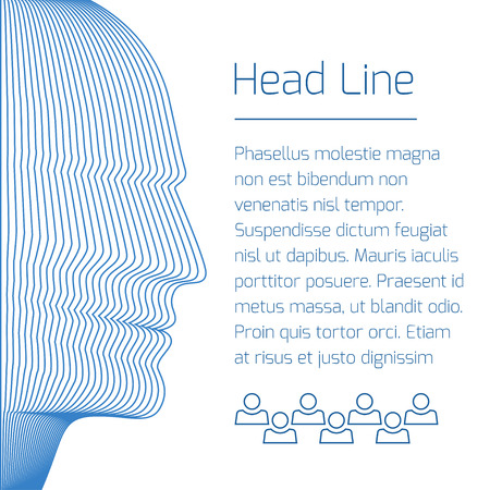 Abstrakte Broschüre mit blauen Mann Kopf und Beispieltext. Vektor-Hintergrund aus konzentrischen dünne Linie Formen. Standard-Bild - 51002837