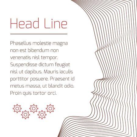 Abstrakte Broschüre mit Mann Kopf und Beispieltext. Nizza Vektor Hintergrund von konzentrischen dünnen Linie Formen. Standard-Bild - 51002839