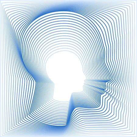 Kopfseite aus konzentrischen dünnen Linien. Bald Roboterkopf mit einem weißen Raum in der Mitte. Feine Vektor-Illustration Inneren Welt zu zeigen. Standard-Bild - 51002850