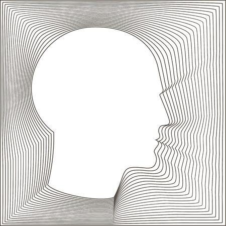 Konzeptionelle Portrait eines glücklichen Menschen. Moderne Vektor-Illustration der Kopf des Mannes aus konzentrischen dünnen Linie Formen. Standard-Bild - 51002877