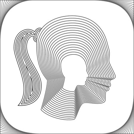 headshot: Conceptual side silhouette of a girl. Beauliful girl made from concentric thin line shapes. Modern vector illustration.