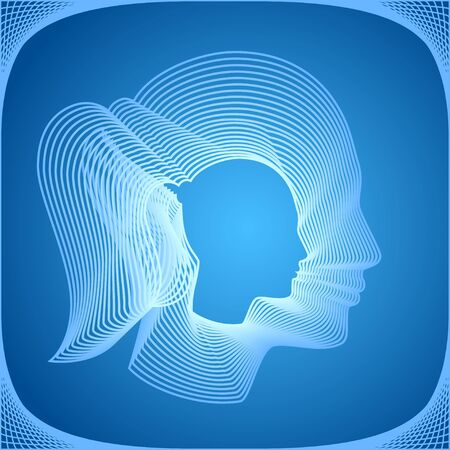 Conceptual portrait of a girl on blue. Pretty vector silhouette made from concentric thin line shapes.