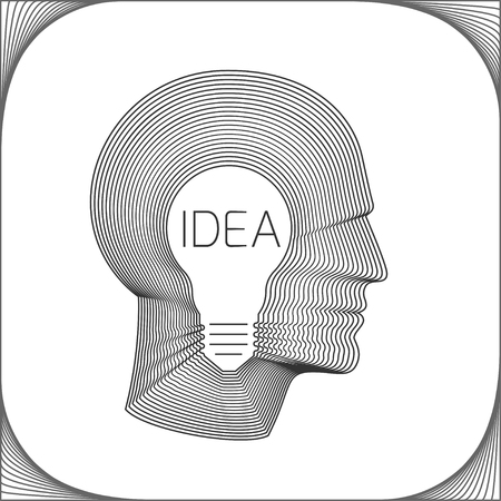 human head: Idea concept with bulb inside head of man. Modern vector illustration of head made from concentric thin line shapes.