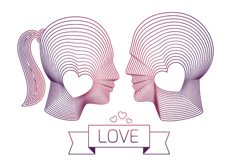 fits in: Couple in love. Happy man and woman vector profiles looking at each other. Nice fits for wedding or marriage design. Illustration made from concentric thin line shapes.
