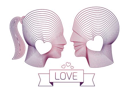 masculin: Pareja enamorada. hombre y mujer de vectores perfiles felices mirando el uno al otro. ataques agradables para la boda o el diseño del matrimonio. Ilustración hecha a partir de formas concéntricas línea delgada.