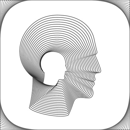 headshot: Conceptual side portrait of a happy man. Head of man made from concentric thin line shapes. Vector illustration.