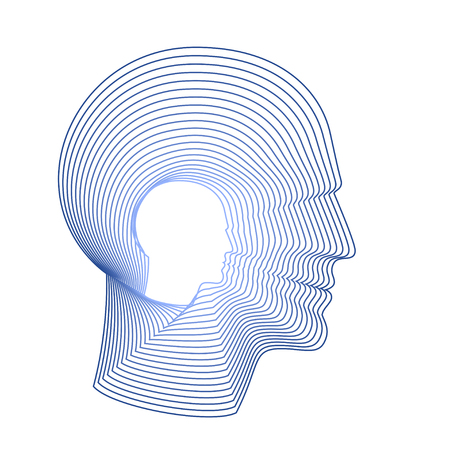 man made: Conceptual portrait of a happy man. Modern vector illustration of head of man made from concentric thin line shapes.