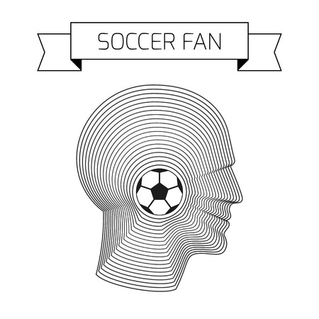 man made: Soccer concept with ball and head of fan. Modern vector illustration of head of man made from concentric thin line shapes.