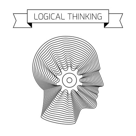 Logisches Denken Konzept mit Getriebezahnrad und Kopf des Menschen. Moderne Vektor-Illustration der Kopf aus konzentrischen dünnen Linie Formen. Standard-Bild - 51001791