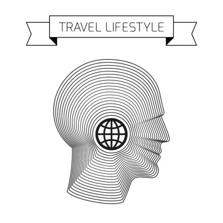 man made: Travel concept with globe and head of man made from concentric thin line shapes.