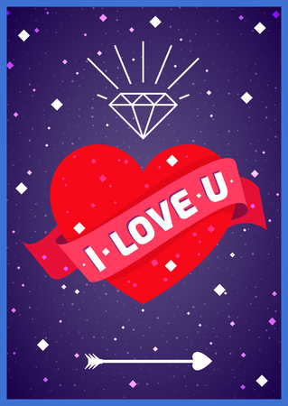 i love you sign: Poster with love heart in space. I love you sign surrounded with stars. Pretty nice romantic placard vector illustration.