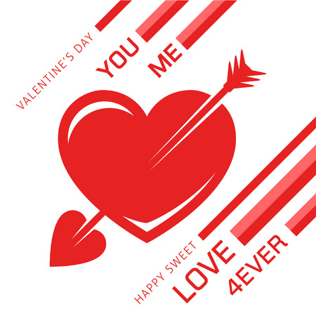 romance love: Awesome red love heart with an arrow for romance. Valentines or weddings day abstract vector illustration. Illustration