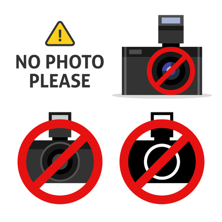 no photo: No photo please. Label of no camera vector sign isolated on white.