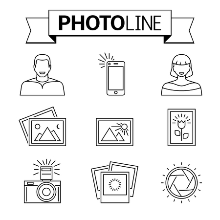 photo pictures: Photo camera and pictures line icons. Nice collection of stylized photos, shutter, portrait of man and woman, mobile selfie. Modern vector pictogram concept.