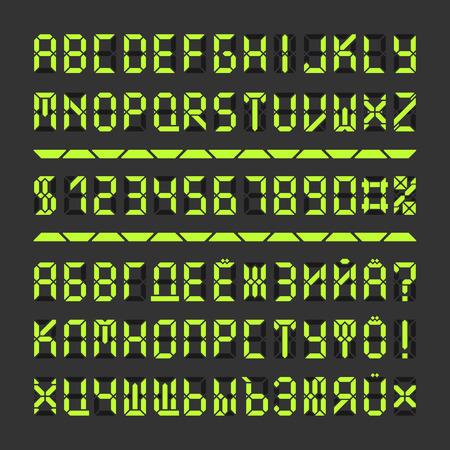 Digital LED-Schrift Buchstaben und Zahlen. Acid Green Alphabet auf schwarz. Standard-Bild - 59937412