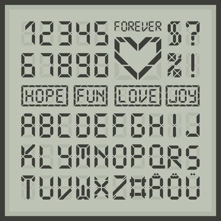 Digitale Anzeigeschrift Buchstaben und Zahlen. Gemeinsame Tech-Display lateinische Alphabet. Herz-Element und einige Beispielwörter. Standard-Bild - 59937416