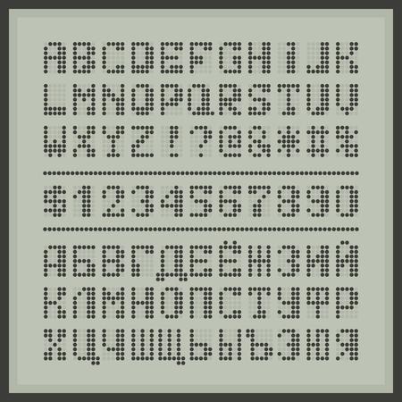 Gepunktete Digitalanzeige Schriftart. Gemeinsame Tech-Display-Alphabet Buchstaben und Zahlen. Standard-Bild - 59937418