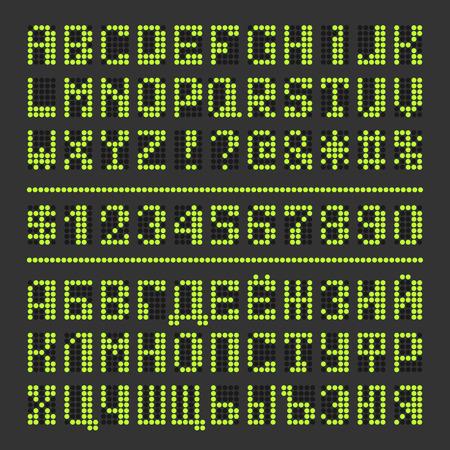 Gepunktete digital geführt Schriftart. Acid Green Alphabet Buchstaben und Zahlen auf schwarz. Standard-Bild - 59937419