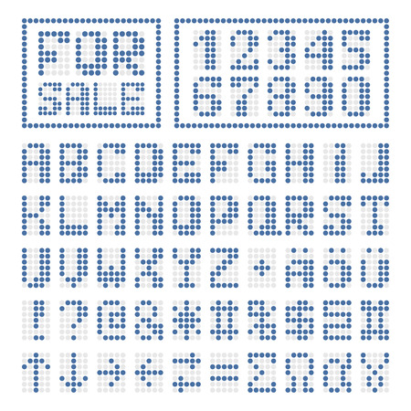 xyz: Dotted digital font. Blue alphabet letters and numbers on white. Some special characters signs and borders.