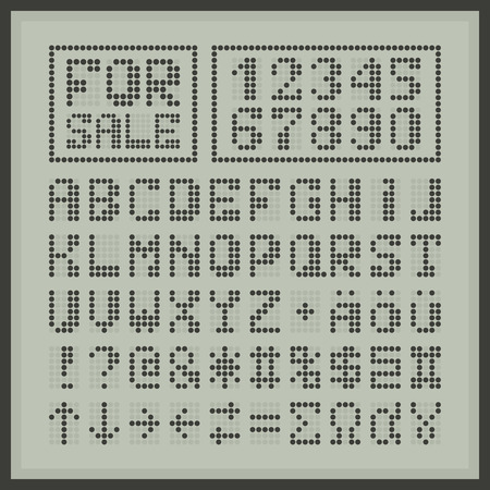 xyz: Dotted digital display font. Blue alphabet letters and numbers on white. Special greek and arrow characters. Illustration