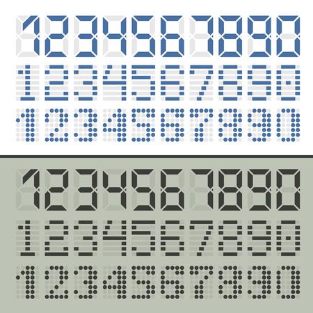 Digitale Schriftnummern. Drei Sätze in zwei Ausführungen für Zeitanzeige. Standard-Bild - 59937422