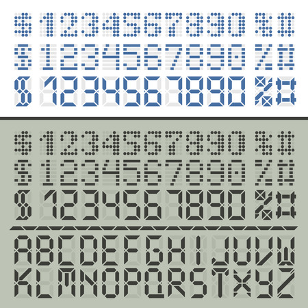 display type: Extended digital font characters. Three number sets in two styles for time display. Latin alphabet included.