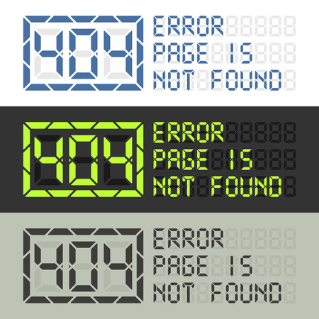 error message: Error 404 message. Page in not found sign in three styles. Ready to use for web site.
