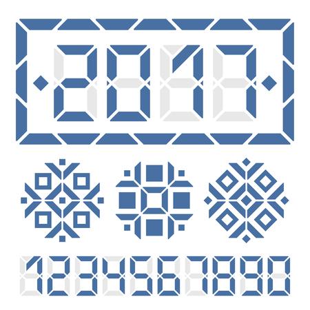 2017 guten Rutsch ins neue Jahr digitale Karte. Ersetzen Ziffer ein weiteres neues Jahr Nachricht zu erhalten. Drei digitale Schneeflocken für die Dekoration. Standard-Bild - 59937426