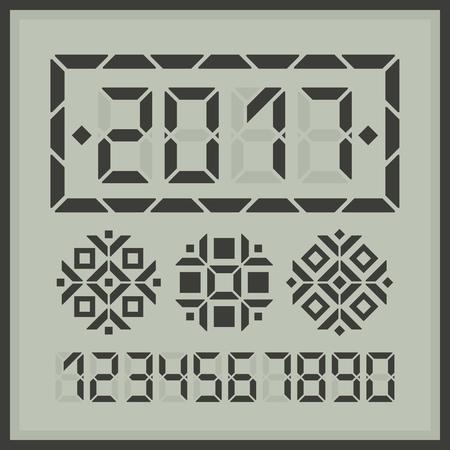 fiestas electronicas: tarjeta digital 2017 nuevo feliz. Coloque dígitos necesario para obtener otro mensaje de año nuevo. Más tres copos de nieve digitales para la decoración.