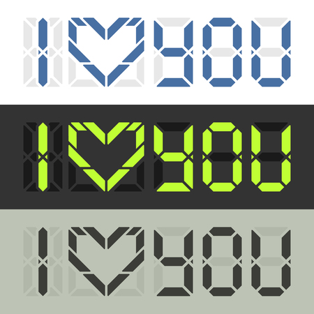 Ich liebe dich intelligente digitale Beichte. Nachricht über Gefühle in Nerd-Stil. Standard-Bild - 59937713
