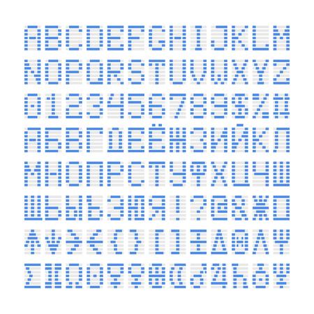 Blaue digitale Schriftbuchstaben, Zahlen und Planeten sowie kyrillische Symbole. Blau Alphabet auf weiß. Standard-Bild - 59939933