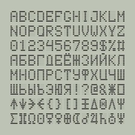 Led digitalen Schriftbuchstaben, Zahlen und Planeten sowie kyrillische Symbole. Tech-Display lateinische Symbole. Standard-Bild - 59939934