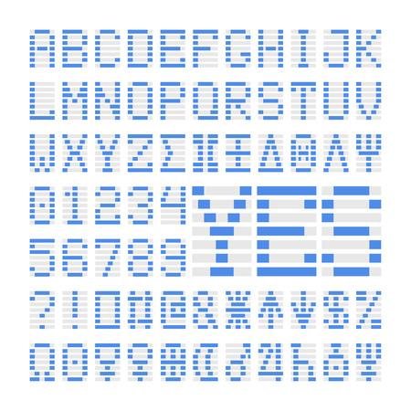 Blaue digitale Schrift Zahlen, Buchstaben und Planeten. Blaue Alphabet-Symbole auf weißem Hintergrund. Standard-Bild - 59940040