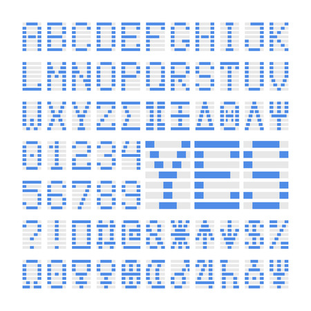 Blue digital font numbers, letters and planets. Blue alphabet symbols on white background. Ilustrace
