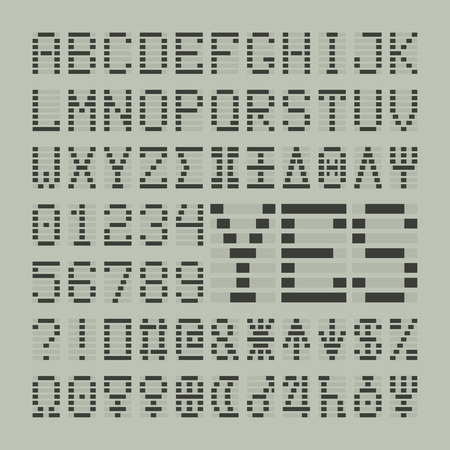 led display: Led digital font letters, numbers and planets. Tech display latin symbols.