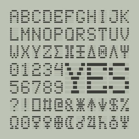Led digitalen Schriftbuchstaben, Zahlen und Planeten. Tech-Display lateinische Symbole. Standard-Bild - 59940037