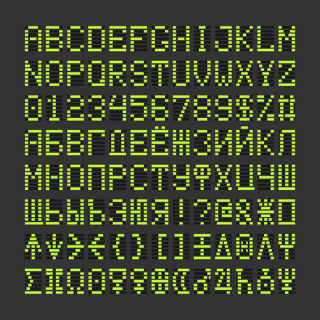 Score table digital font letters, numbers and planets plus cyrillic symbols. Acid green alphabet letters and numbers on black background.