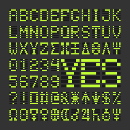 Score table digital font letters and numbers. Acid green alphabet letters and numbers on black background. Ilustrace