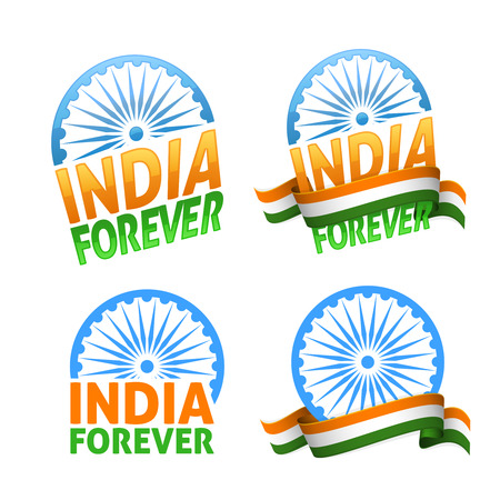 democracy: India forever four badges independence day. Patriotic holiday of freedom and democracy. Illustration