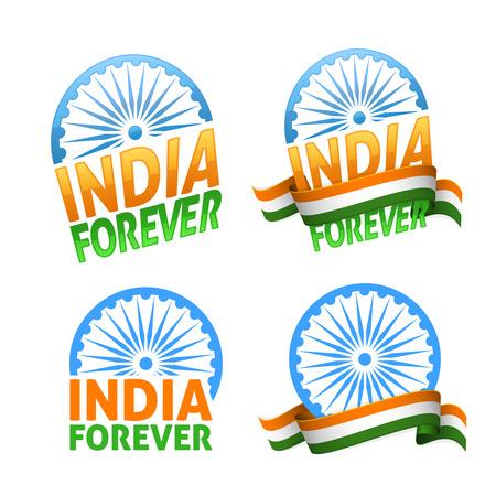 Indien für immer vier Abzeichen Tag der Unabhängigkeit. Pattic Urlaub von Freiheit und Demokratie. Standard-Bild - 59940044
