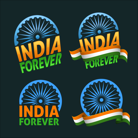 democracy: India forever four badges independence day. Patriotic holiday of freedom and democracy. Dark background version.
