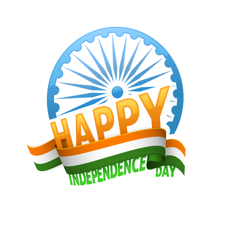 democracy: India independence day badge 15th of august. Emblem for patriotic holiday of freedom and democracy.