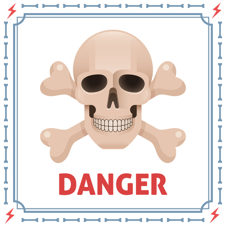 Danger symbol with skull and crossbones. Warning vector illustration with danger message.