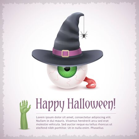 Happy Halloween card with a witch green eye in hat. Fine holiday vector illustration with text example. Ilustrace